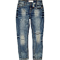 Boys blue mid wash distressed ripped jeans