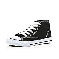 Boys black canvas high tops