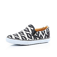 Boys black aztec slip on plimsolls