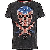 Boys black studded American skull t-shirt