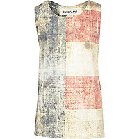 Boys white distressed American flag vest