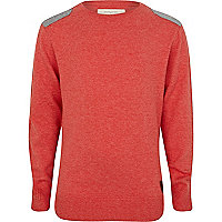 Boys red marl shoulder patch jumper