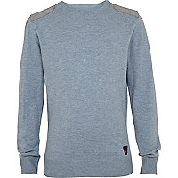 Boys blue marl shoulder patch jumper