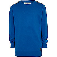 Boys blue epaulette detail jumper