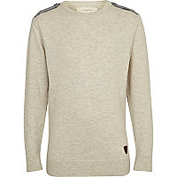 Boys ecru jumper with epaulettes
