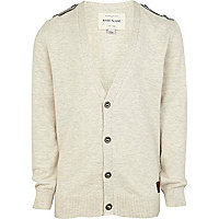 Boys ecru cardigan with epaulettes