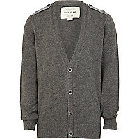 Boys grey cardigan with epaulettes