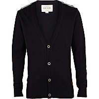 Boys navy cardigan with epaulettes