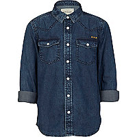 Boys blue dark denim shirt with star yoke