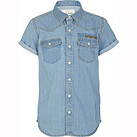 Boys blue light wash studded denim shirt