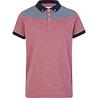 Boys pink chambray yoke polo shirt