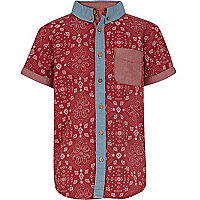 Boys red bandana print shirt