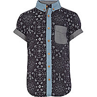 Boys blue bandana print shirt