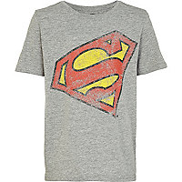 Boys grey marl slanted superman t-shirt