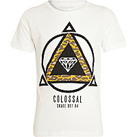 Boys white colossal skate off t-shirt