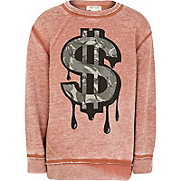 Boys washed red dripping dollar sweatshirt