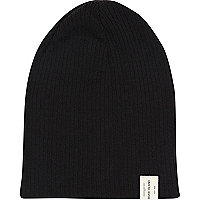 Boys black ribbed beanie hat