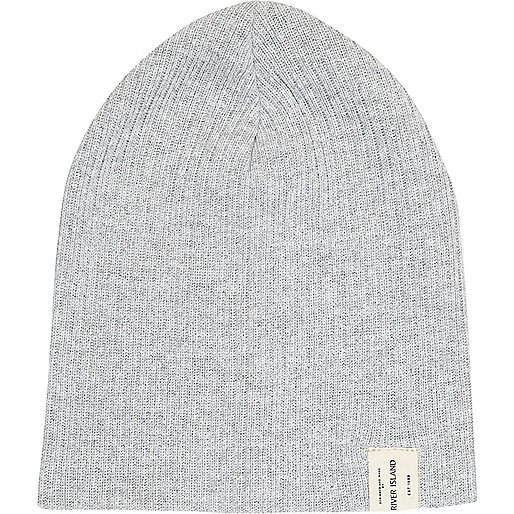 Boys grey ribbed beanie hat