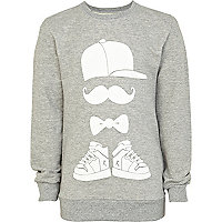 Boys grey marl moustache man sweatshirt