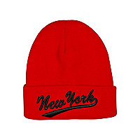 Boys red New York beanie hat
