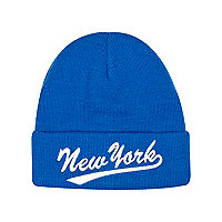 Boys blue New York beanie hat