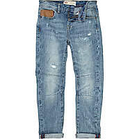Boys blue light wash leather look trim jeans
