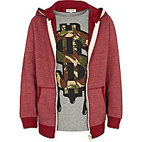 Boys red hoodie and dollar sign t-shirt set