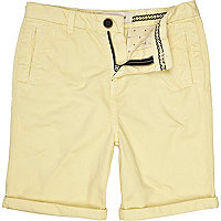 Boys light yellow chino shorts