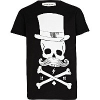 Boys black skeleton moustache print t-shirt