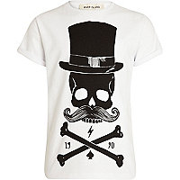 Boys white skeleton moustache print t-shirt