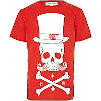 Boys red skeleton moustache print t-shirt
