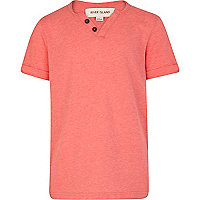 Boys red marl notch neck t-shirt