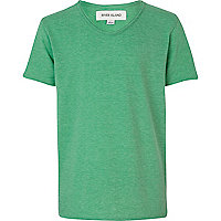 Boys green marl voop neck t-shirt