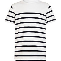 Boys navy breton stripe t-shirt