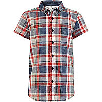 Boys blue marble check shirt