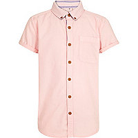 Boys pink short sleeved Oxford shirt