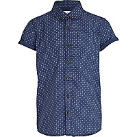 Boys blue spot print shirt