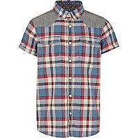Boys red short sleeved check shirt