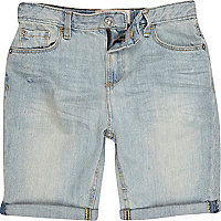 Boys blue bleach wash denim shorts