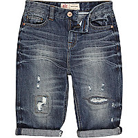 Boys blue mid wash distressed denim shorts