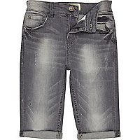 Boys grey long denim shorts
