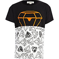 Boys black fluro dripping diamond t-shirt
