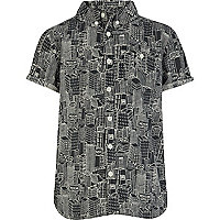 Boys black city print shirt