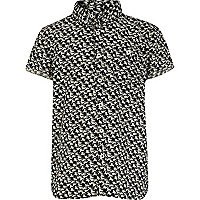 Boys black horse print shirt
