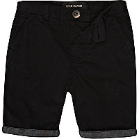 Boys black aztec hem chino shorts
