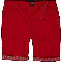 Boys red aztec hem chino shorts