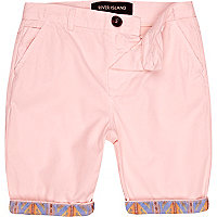 Boys pink aztec hem chino shorts