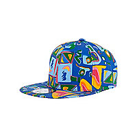 Boys blue aztec trucker hat