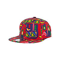 Boys red aztec trucker hat