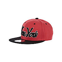 Boys red New York trucker hat